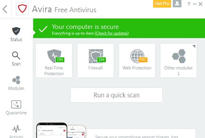 """Interfaccia Avira Free Antivirus """"larghezza ="""" 640 """"altezza ="""" 432 """"/> </p></noscript> <p> <strong> Avira Free Antivirus </strong> è una buona opzione se stai cercando un buon antivirus gratuito con risultati molto buoni e che abbia anche <strong> un impatto minimo sulle prestazioni del tuo PC </strong>. Avira è conosciuta in tutto il mondo per i suoi buoni risultati e non è sorprendente. Ed è in grado di rilevare <strong> 99,97% di virus </strong> e attacchi che il tuo computer potrebbe subire, permettendoti di navigare sempre con la massima tranquillità. </p> <p> Se sei un nuovo utente o semplicemente non ti piacciono gli antivirus criptici o con molte opzioni, sarai felice di sapere che <strong> Avira ha un'interfaccia semplice ed estremamente facile da comprendere </strong>. Da lì puoi analizzare il tuo computer alla ricerca di virus e ottimizzare le prestazioni del tuo computer, qualcosa di veramente utile se ultimamente non funziona come dovrebbe. A tutto ciò dobbiamo aggiungere una potente protezione <strong> contro il phishing </strong> e la possibilità di navigare attraverso la sua VPN integrata. E tutto questo senza rallentare il tuo computer! </p> <p> L'unico punto negativo di Avira è che, essendo un antivirus gratuito, ha <strong> abbastanza pubblicità e pop-up </strong> che possono essere frustranti. Oltre a tutto ciò, è importante che quando installi l'antivirus, stai molto attento a quali opzioni scegli, poiché questo <strong> proverà ad installare altri programmi Avira </strong> che sicuramente non ti interessano. Se nulla di tutto ciò ti disturba o se vuoi solo dare un'occhiata, puoi scaricare gratuitamente questo antivirus sotto queste linee. </p> <p><!-- Start shortcoder --> </p> <p class="""