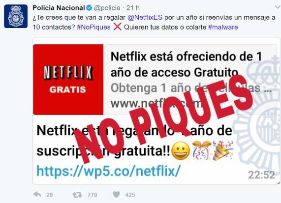 """Account di abbonamento Netflix gratuito """"larghezza ="""" 571 """"altezza ="""" 413 """"/> </p></noscript> <p> Un altro imbroglio pericoloso che circola molto sui social network, in particolare tramite WhatsApp, è l'abbonamento gratuito <strong> a Netflix </strong>. Ci offre un anno di abbonamento gratuito al popolare servizio di streaming per serie e film semplicemente facendo clic su un link. Se mordiamo, ci chiederanno di condividere il messaggio con 10 amici e poi <strong> introdurrà malware al nostro team </strong> per rubare dati e account. Non prudere! </p> <h2> <strong> Come evitare di cadere per truffe e truffe su Internet </strong> </h2> <p> Come puoi vedere, molte bufale, truffe, notizie false e tentativi di phishing circolano su Internet. Per <strong> evitare di cadere in questo tipo di inganno </strong> è necessario seguire questi suggerimenti: </p> <ul> <li> <strong> Diffida di qualsiasi prodotto o offerta gratuita- </strong> Nessuno ti darà nulla senza dare nulla in cambio. Se ricevi un'offerta, un coupon o un premio succosi tramite WhatsApp ed è accompagnato da un link, non aprirlo mai. Tutti loro sono tentativi di phishing per rilevare i tuoi dati e le tue apparecchiature. </li> <li> <strong> Non aprire mai allegati da mittenti sconosciuti- </strong> È molto comune per hacker e criminali informatici cercare di impersonare istituzioni di fiducia come banche o società di fornitura di elettricità o acqua. Nelle loro e-mail aggiungono una presunta fattura da pagare o un file """"importante"""" e ti chiedono di aprirlo. Non aprire mai file di questo tipo perché sono virus e malware per dirottare il tuo computer. </li> <li> <strong> Controlla sempre la pagina web o l'indirizzo e-mail del messaggio </strong> – Quando leggi informazioni da fonti apparentemente veritiere, assicurati di controllare l'URL o l'indirizzo e-mail del messaggio. Se hai ancora dubbi, contatta la società o l'istituzione che ti offre questo messaggio e chiedi se proviene da loro. </li> <li> <strong> Con"""