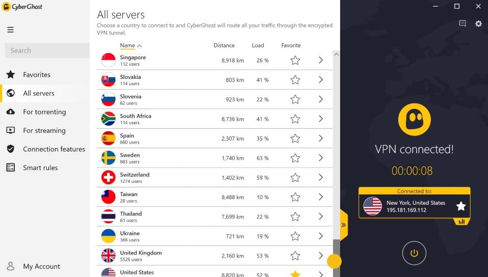 """Interfaccia Cyberghost """"larghezza ="""" 600 """"altezza ="""" 341 """"/> </p> <p> <strong> CyberGhost </strong> è un'altra opzione eccellente per tutti coloro che cercano una VPN semplice da usare in grado di sbloccare Netflix. Ha più di <strong> 6500 server in 90 paesi </strong>quindi avrai accesso a gran parte del catalogo della piattaforma di streaming. Tra quelli che abbiamo testato, CyberGhost è più che conforme a Netflix USA, Francia, Regno Unito e Germania. </p> <p> Tra le peculiarità di CyberGhost troviamo che questa VPN ha <strong> un'eccellente selezione di applicazioni </strong> per poter utilizzare i suoi servizi su Windows, Mac, Android e iOS. È anche possibile connettersi attraverso di esso tramite console come PS4 o Xbox One, tuttavia la cosa più promettente su CyberGhost è che per connettersi al server migliore non sarà necessario dedicare molto tempo alla ricerca di quale sia il migliore per te. CyberGhost farà il lavoro sporco per te <strong> connettendosi istantaneamente con il più veloce </strong>. </p> <p> Se confrontiamo questa VPN con il resto, possiamo dire che CyberGhost funziona perfettamente e <strong> è molto comodo da usare </strong>. Potrebbe non essere veloce come gli altri tre, ma sarà sicuramente molto utile poter guardare Netflix senza alcun tipo di restrizione. È possibile scaricare CyberGhost in modo rapido e sicuro con queste linee. </p> <p class="""