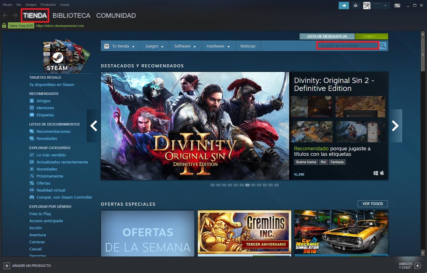 """Come trovare un gioco su Steam """"width ="""" 600 """"height ="""" 383 """"/> </p></noscript> <p> Ora che hai effettuato l'accesso a Steam, è il momento di trovare il titolo che stai cercando. Per fare ciò, inserisci il nome del gioco che desideri acquistare nella barra di navigazione <strong> «Cerca in negozio» </strong>. Se non sai quale gioco vuoi acquistare, puoi dare un'occhiata al suo catalogo cliccando sull'opzione <strong> «Sfoglia» </strong> e, una volta aperto il menu a tendina, seleziona la categoria di gioco a cui vuoi giocare. </p> <h3> <strong> Passaggio 3: assicurati che il tuo PC soddisfi i requisiti minimi di sistema </strong> </h3> <p> <img   alt="""